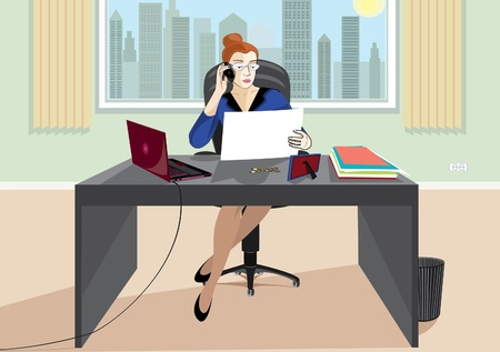 secretary office: A business woman at the office table talking on the phone