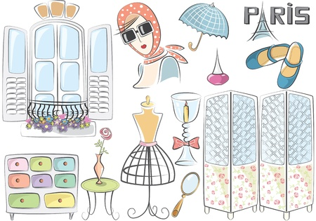 pastel shades: French style set