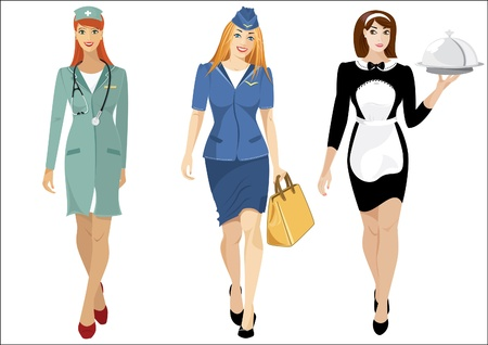 Women professions airhostess, waitres, doctor Vector