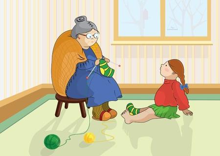 granddaughter: Grandmother knitting socks for her granddaughter Illustration