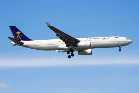 ISTANBUL / TURKEY - MARCH 28, 2019: Saudia Airbus A330-300 HZ-AQ17 passenger plane landing at Istanbul Ataturk Airport