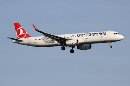 ISTANBUL / TURKEY - MARCH 28, 2019: Turkish Airlines Airbus A321 TC-JST passenger plane landing at Istanbul Ataturk Airport