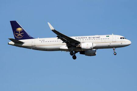 ISTANBUL / TURKEY - MARCH 28, 2019: Saudia Airbus A320 HZ-AS61 passenger plane landing at Istanbul Ataturk Airport