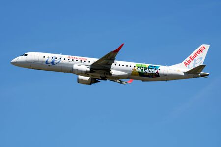 MADRID / SPAIN - MAY 1, 2016: Air Europa Embraer 195 EC-LKX passenger plane departure at Madrid Barajas Airport Editorial
