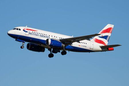 MADRID / SPAIN - MAY 1, 2016: British Airways Airbus A319 G-EUPM passenger plane departure at Madrid Barajas Airport Editorial