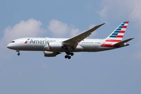 LONDON / UNITED KINGDOM - JULY 14, 2018: American Airlines Boeing 787-8 Dreamliner N809AA passenger plane landing at London Heathrow Airport