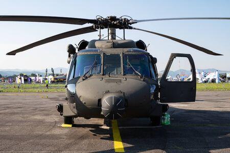Sliac / Slovakia - August 3, 2019: Austrian Air Force Sikorsky UH-60 S-70A Black Hawk helicopter static display at SIAF Slovak International Air Fest 2019