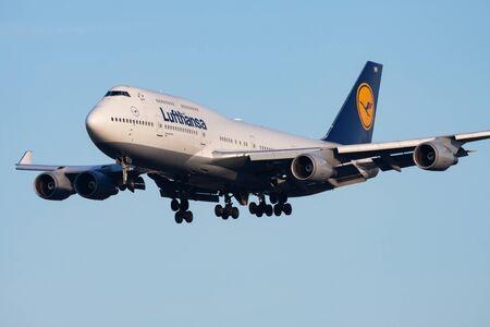 FRANKFURT / GERMANY - DECEMBER 8, 2012: Lufthansa Boeing 747-400 D-ABVR passenger plane landing at Frankfurt Airport