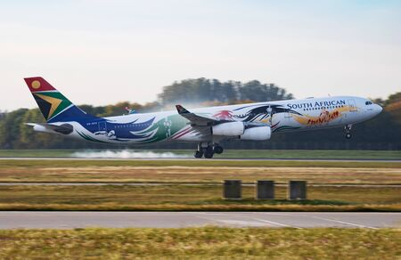 Munich / Germany - October 4, 2017: South African Airways Airbus A340-300 ZS-SXD passenger plane arrival and landing at Munich Airport