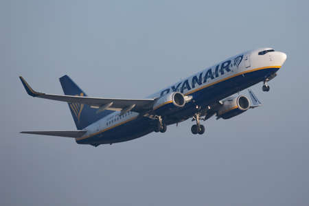 Budapest / Hungary - November 11, 2019: Ryanair Boeing 737-800 EI-EFF passenger plane departure and take off at Budapest Airport