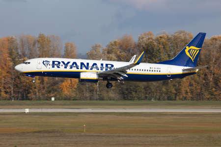 Budapest / Hungary - November 11, 2019: Ryanair Boeing 737-800 EI-DCX passenger plane arrival and landing at Budapest Airport
