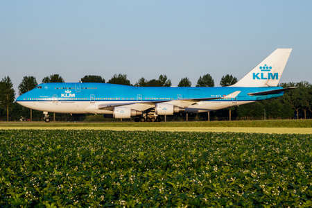 Amsterdam / Netherlands - July 3, 2017: KLM Royal Dutch Airlines Boeing 747-400 PH-BFR passenger plane taxiing at Amsterdam Schipol Airport