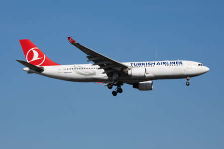 Istanbul / Turkey - March 28, 2019: Turkish Airlines Airbus A330-200 TC-JIT passenger plane landing at Istanbul Ataturk Airport