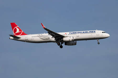 Turkish Airlines Airbus A321 TC-JTK passenger plane arrival and landing at Istanbul Ataturk Airport