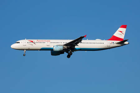 Vienna, Austria - July 7, 2018: Austrian Airlines Airbus A321 OE-LBD passenger plane arrival and landing at Vienna Airport Editorial