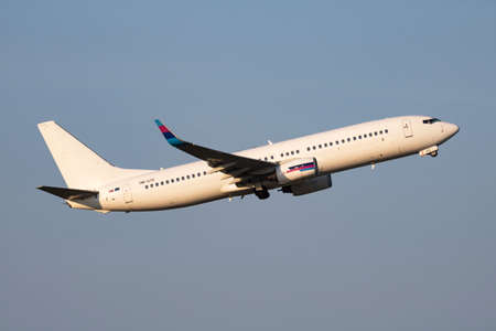 Vienna, Austria - May 13, 2018: Go2Sky Boeing 737-800 OM-GTE passenger plane departure and take off at Vienna Airport