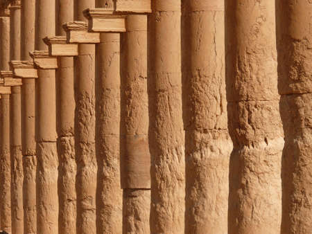 restored: Ancient historical columns standing in a row, Great Colonnade, Palmyra, Syria, Middle East