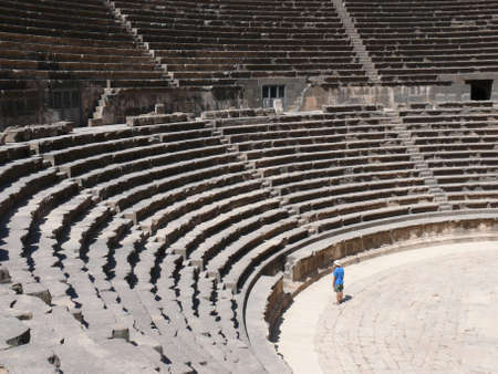basra: Rows of seats and stairway, auditorium, ancient Roman open amphitheatre, Bosra, Syria
