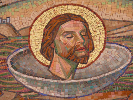 Jesus Christ, face, mosaic tiles photo