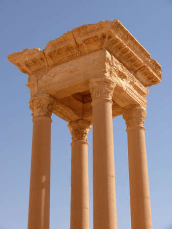 archaeological: Ancient columns, archaeological site, UNESCO heritage, Palmyra ruins, Syria