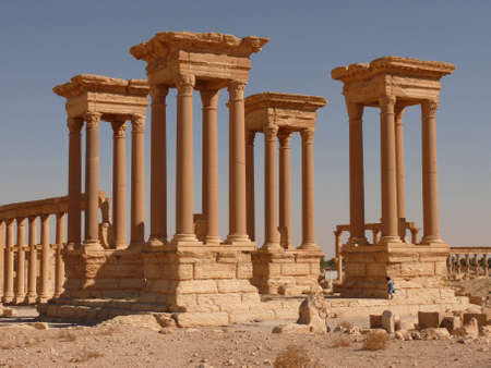 pilaster: Ancient columns, archaeological site, UNESCO heritage, Palmyra ruins, Syria