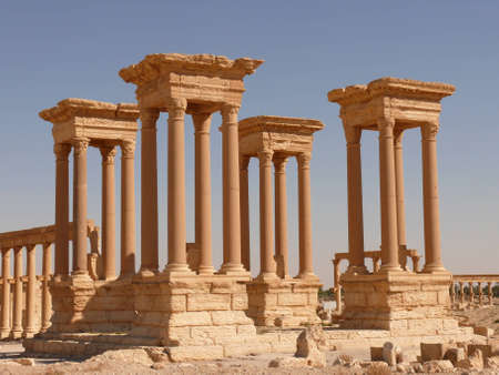restored: Ancient columns, archaeological site, ruins, UNESCO heritage, Palmyra, Syria