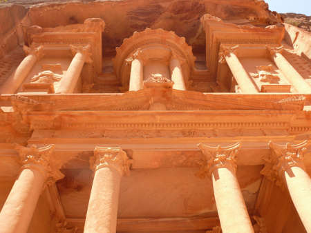 petra  jordan: Treasury, Al-Khazneh, facade close-up, Petra, Jordan