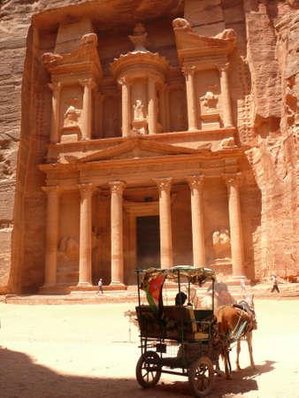 petra  jordan: Horse Carriage, known as Bedouin Ferrari, at the foot of the Treasury, Petra, Jordan