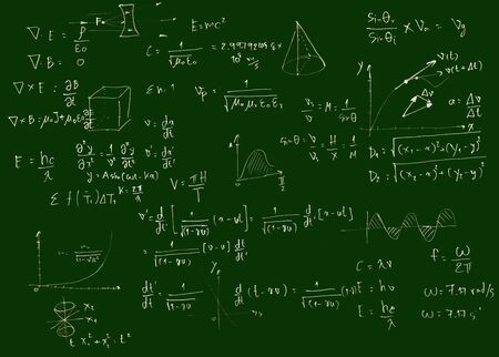 Mathematical equations on a blackboard,green color