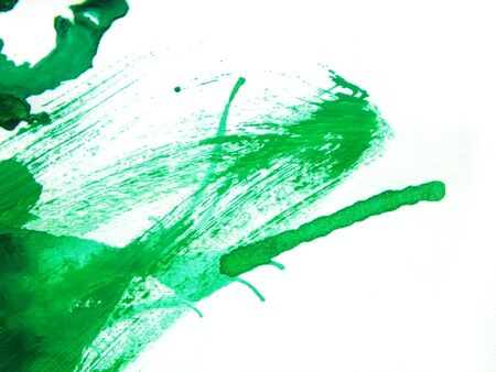 Abstract close up of green watercolor hand painting on paper white background Stockfoto