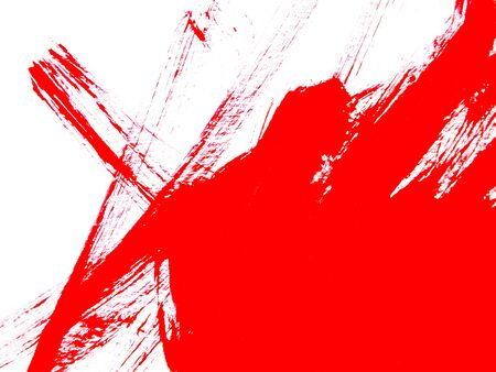 Abstract close up of red watercolor hand painting on paper white background