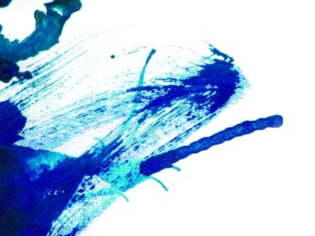 The abstract close up of blue watercolor hand painting on paper white background Stockfoto