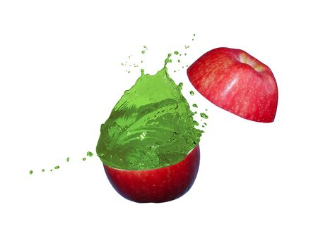 Apples is cut into two parts and the green apple juice is splash Stok Fotoğraf