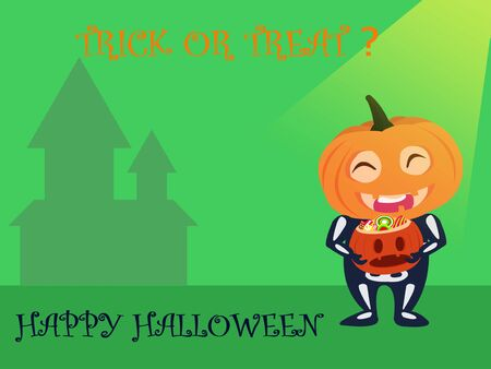 Halloween party for kids. A Children wearing pumpkin head Halloween costumes on a green background at night