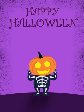 Halloween party for kids. A Children wearing pumpkin head Halloween costumes on a purple background at night