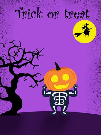Halloween party for kids. A Children wearing pumpkin head Halloween costumes Under Under the moonlight on a purple background at night