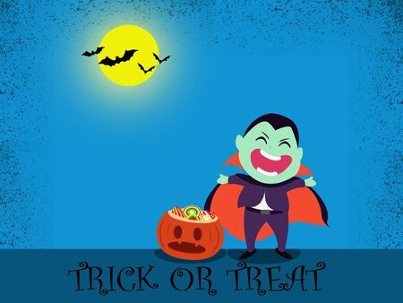 Halloween party for kids. Children wearing dracula Halloween costumes  under the moonlight on a blue background at night