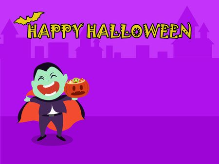 Halloween party for kids. Children wearing dracula Halloween costumes  under the moonlight on a purple background at night