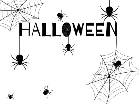 Halloween day. Many black spiders on a white background and black Halloween font