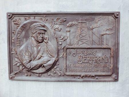 Charleroi, Belgium - December 28 2019: Commemorative plaque for Jacques Bertrand, place du Bourdon. Jacques Bertrand was a Belgian chansonnier
