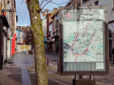Charleroi, Belgium - December 28 2019: Map of the City of Charleroi