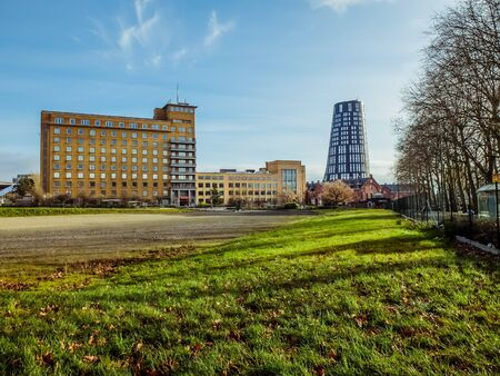 Charleroi, Belgium - December 28 2019: Blue tower, police station in the police area, near the Spirou roundabout and the old Defeld barracks Éditoriale