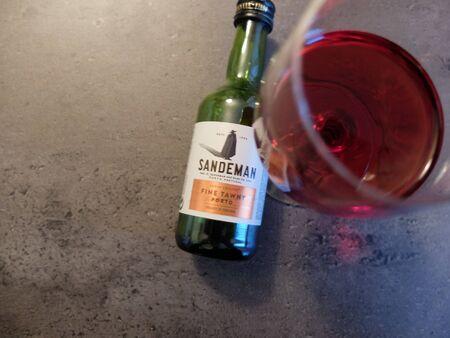 Charleroi, Belgium - December 28 2019: a glass of Sandeman porto