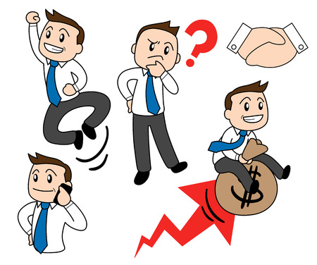 Happy simple cartoon style business man in 5 different poses. Illustration