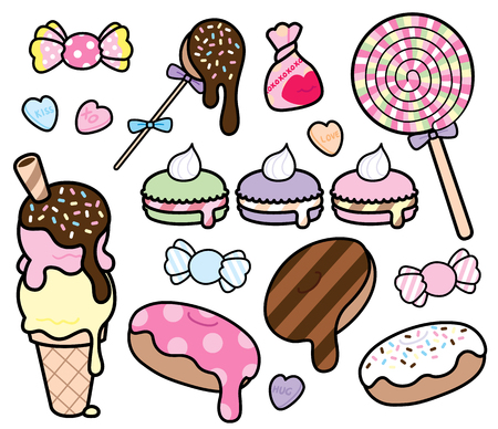 Cute and colorful desserts and candies, in a simple cartoon style. 向量圖像
