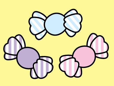 set of three pastel colored bonbons