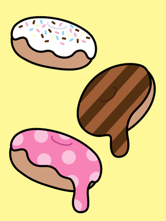 set of three cute and colorful donuts with dripping icing and sprinkles