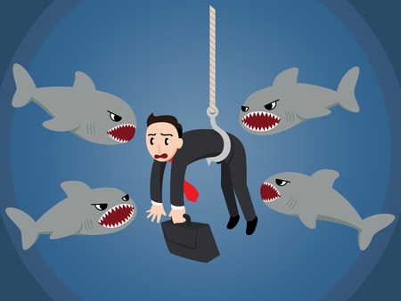 A business man in a stressful situation as he is used as bait and attacked by a group of sharks Çizim