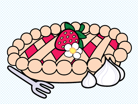 Cute and simple illustration of a strawberry pie with a strawberry on top and whipped cream on the side. Illusztráció