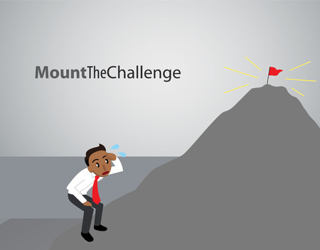 A business man attempts to overcome the challenge of climbing an intimidating mountain with success at the top